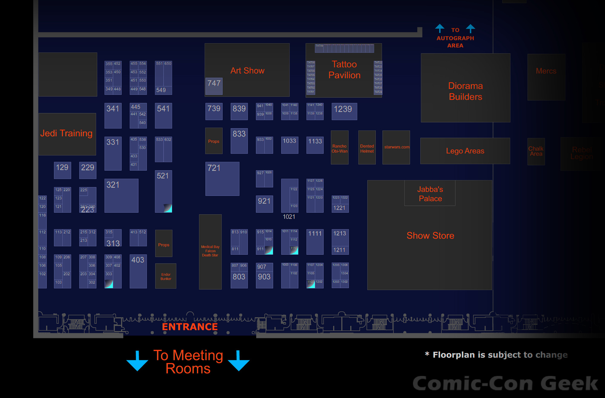 star wars celebration vi exhibitor list and floor plan