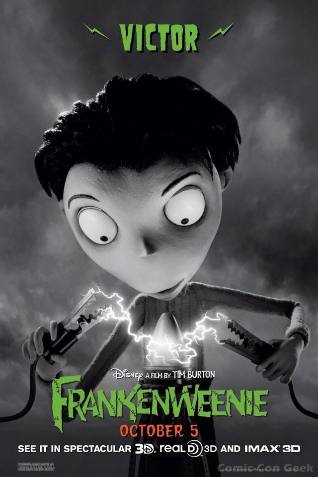 Frankenweenie Tim Burton Walt Disney Studios Poster Victor Frankenstein Comic Con Geek