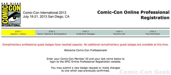 Comic-Con 2013 - Professional Registration - Complimentary Professional Guest Badges Have Reached Capacity - SDCC