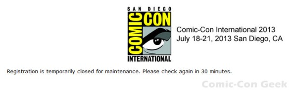 Comic-Con 2013 - Professional Registration - Registration is temporarily closed for maintenance - SDCC