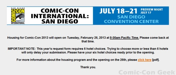 Comic-Con 2013 - Housing - Hotel Reservations - Travel Planners - 01