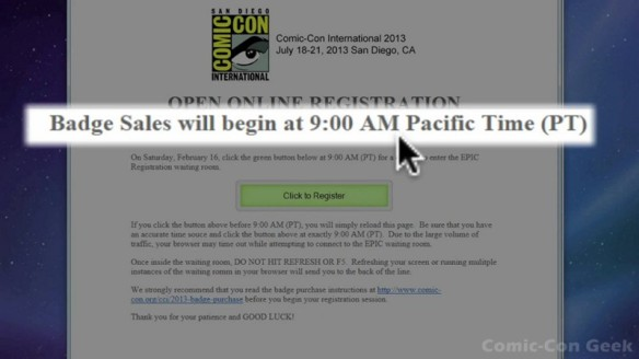 Comic-Con 2013 Open Online Badge Registration - SDCC Badge Purchase 009