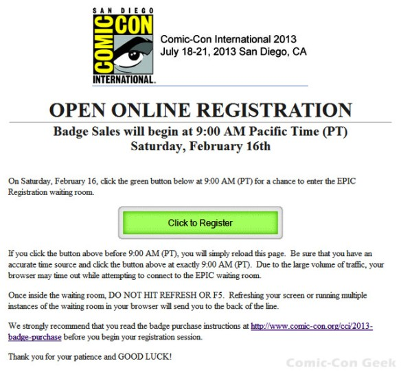 Comic-Con 2013 - Open Online Registration - SDCC - Badge Sales