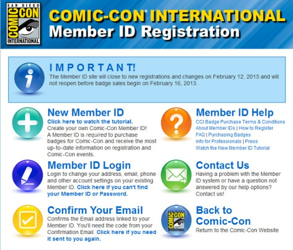 Comic-Con Member ID Registration - SDCC 2013