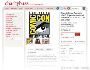 Charity Buzz - WWE - AJ Lee and the Divas - Comic-Con 2013 - SDCC - Auction Page