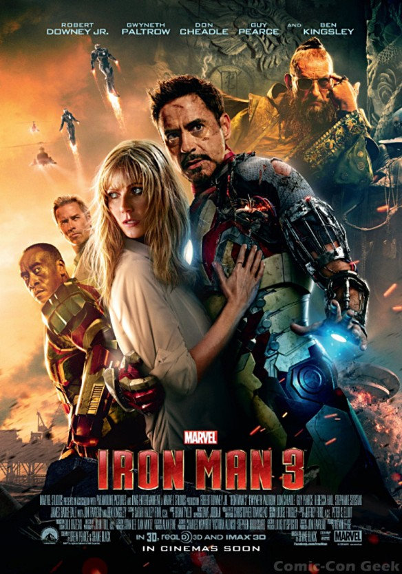 Iron Man 3 - Montage - Robert Downey Jr - Gwyneth Paltrow - Don Cheadle - Guy Pearce - Ben Kingsley - Poster