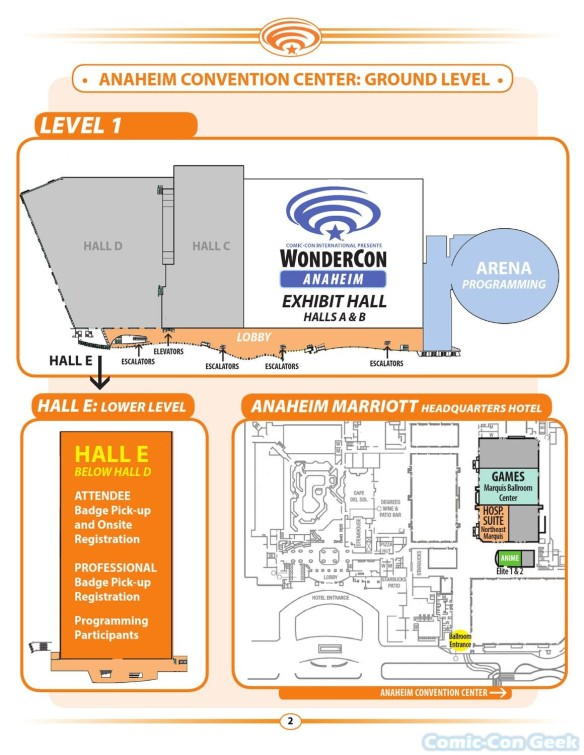 WonderCon Anaheim 2013 Quick Guide 002 - Convention Center Map - Ground Level
