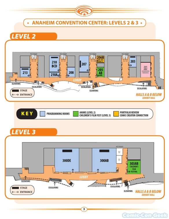 WonderCon Anaheim 2013 Quick Guide 003 - Convention Center Map - Levels 2 & 3