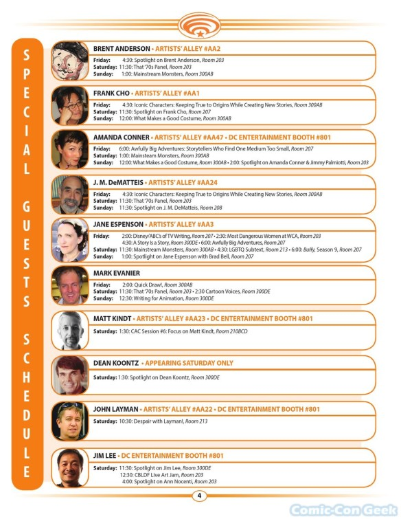 WonderCon Anaheim 2013 Quick Guide 004 - Special Guests Schedule