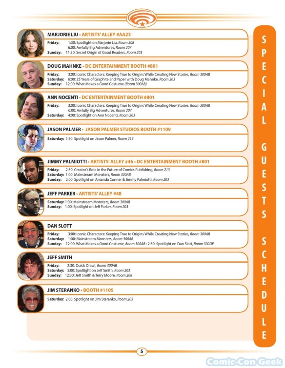 WonderCon Anaheim 2013 Quick Guide 005 - Special Guests Schedule