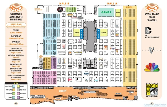 WonderCon Anaheim 2013 Quick Guide 010 011 - Exhibit Hall Map - Halls A & B - Convention Center