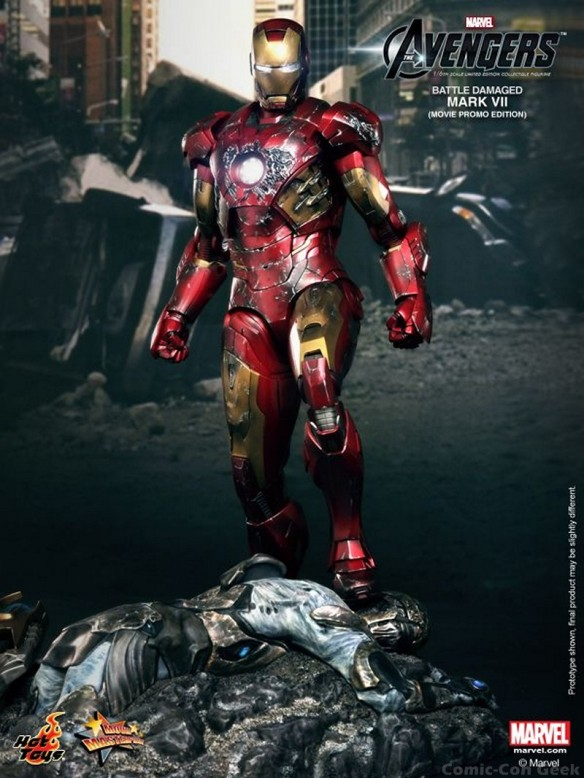 Hot Toys - The Avengers - Battle Damaged Iron Man Mark VII Limited Edition Collectible Figurine - Movie Promo Edition 001