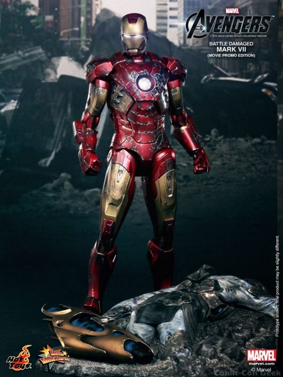 Hot Toys - The Avengers - Battle Damaged Iron Man Mark VII Limited Edition Collectible Figurine - Movie Promo Edition 002