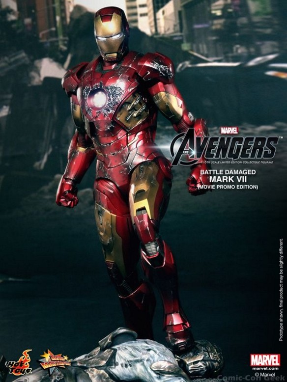 Hot Toys - The Avengers - Battle Damaged Iron Man Mark VII Limited Edition Collectible Figurine - Movie Promo Edition 003
