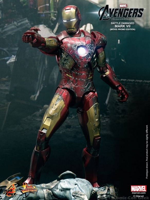 Hot Toys - The Avengers - Battle Damaged Iron Man Mark VII Limited Edition Collectible Figurine - Movie Promo Edition 004