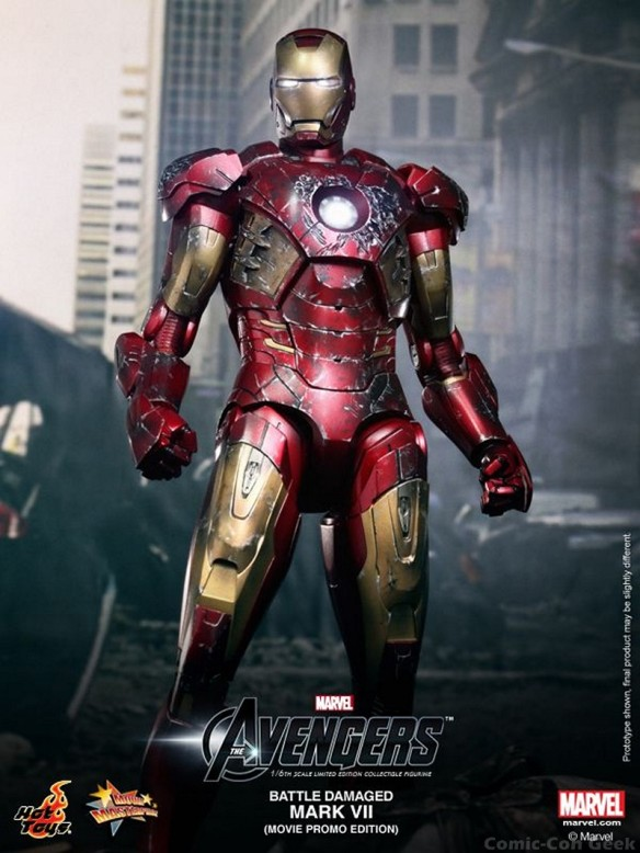 Hot Toys - The Avengers - Battle Damaged Iron Man Mark VII Limited Edition Collectible Figurine - Movie Promo Edition 005