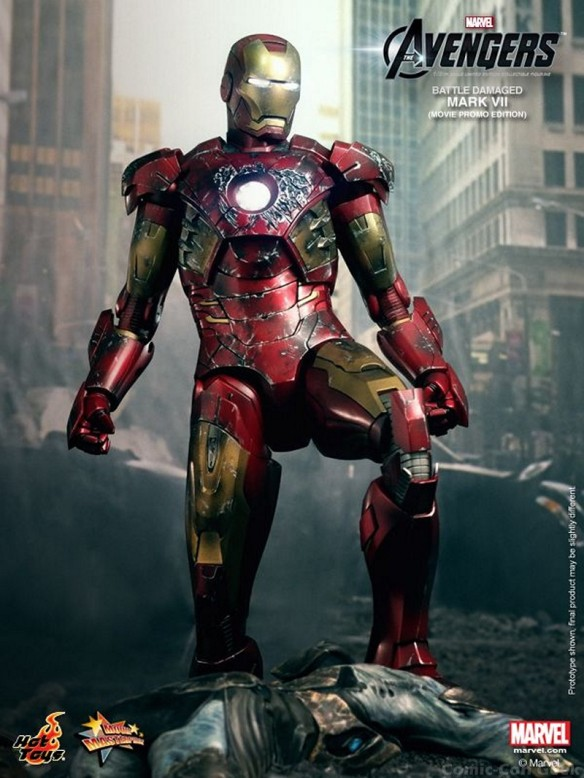 Hot Toys - The Avengers - Battle Damaged Iron Man Mark VII Limited Edition Collectible Figurine - Movie Promo Edition 006