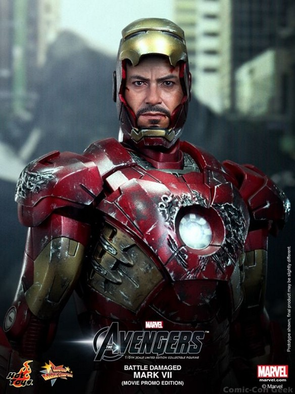 Hot Toys - The Avengers - Battle Damaged Iron Man Mark VII Limited Edition Collectible Figurine - Movie Promo Edition 007
