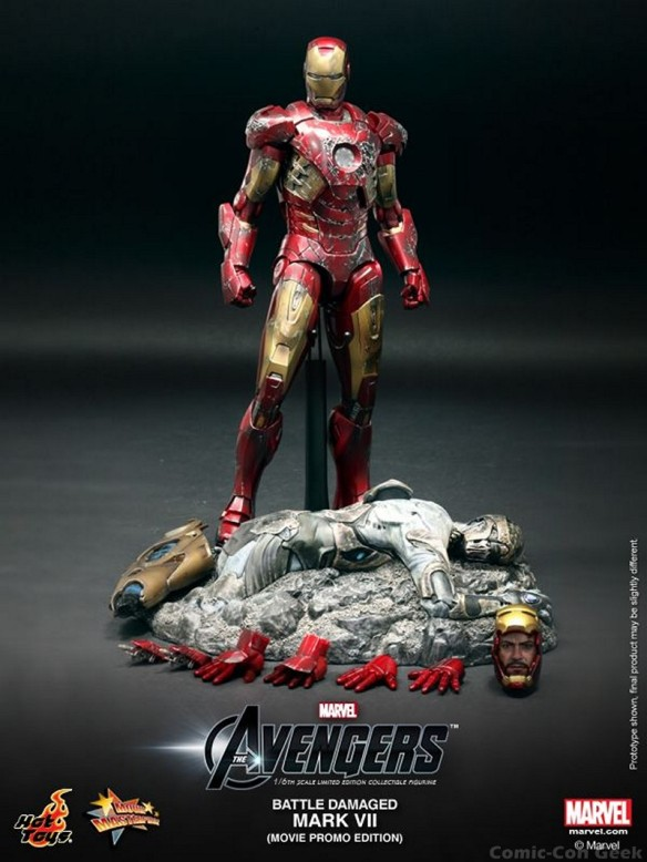 Hot Toys - The Avengers - Battle Damaged Iron Man Mark VII Limited Edition Collectible Figurine - Movie Promo Edition 008