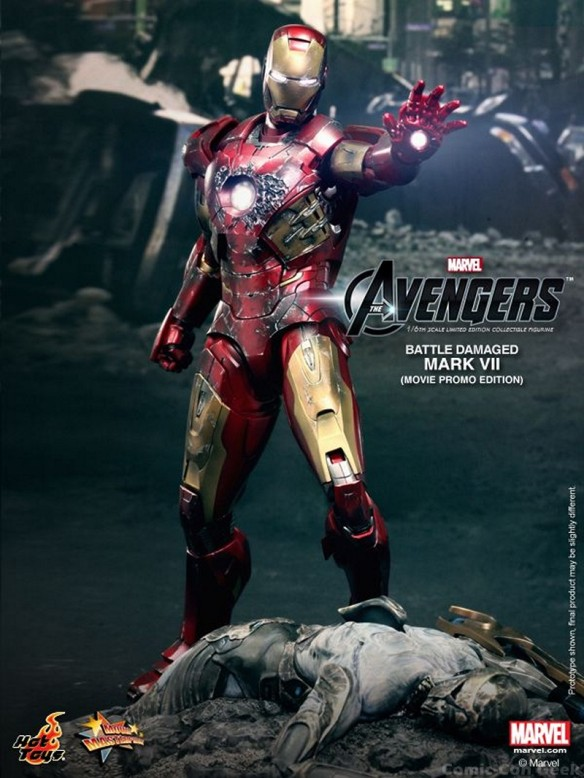 Hot Toys - The Avengers - Battle Damaged Iron Man Mark VII Limited Edition Collectible Figurine - Movie Promo Edition 010