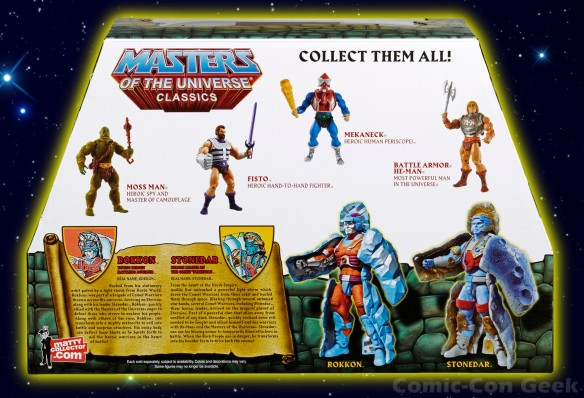 Masters of the Universe Classics Rokkon and Stonedar - MOTU - SDCC 2013 Exclusives Box Back - Mattel - Matty Collector