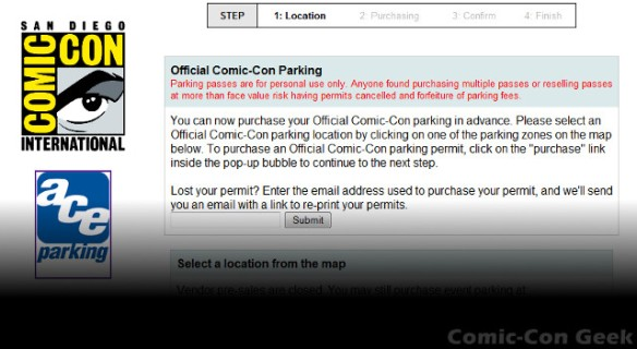 Official Comic-Con Parking - Ace Parking - SDCC 2013 - Parking Passes