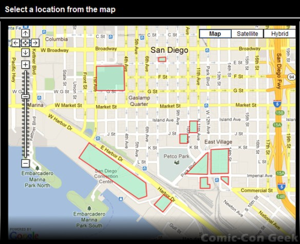 Select a location from the map - Ace Parking - Comic-Con - SDCC - Sample Parking Locations Map