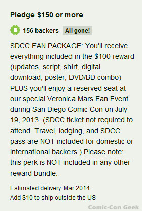 Veronica Mars - SDCC Fan Package - 2nd Chance - Comic-Con 2013 - Kickstarter