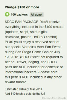 Veronica Mars - SDCC Fan Package - Kickstarter