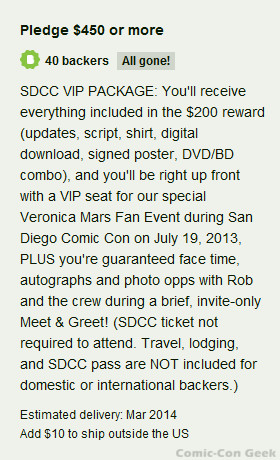 Veronica Mars - SDCC VIP Package - 2nd Chance - Comic-Con 2013 - Kickstarter
