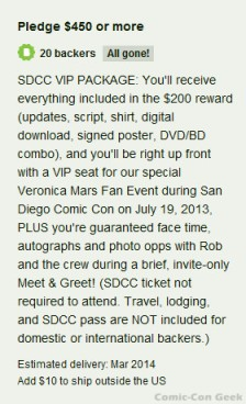 Veronica Mars - SDCC VIP Package - Kickstarter