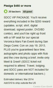 Veronica Mars - SDCC VIP Package - Kickstarter