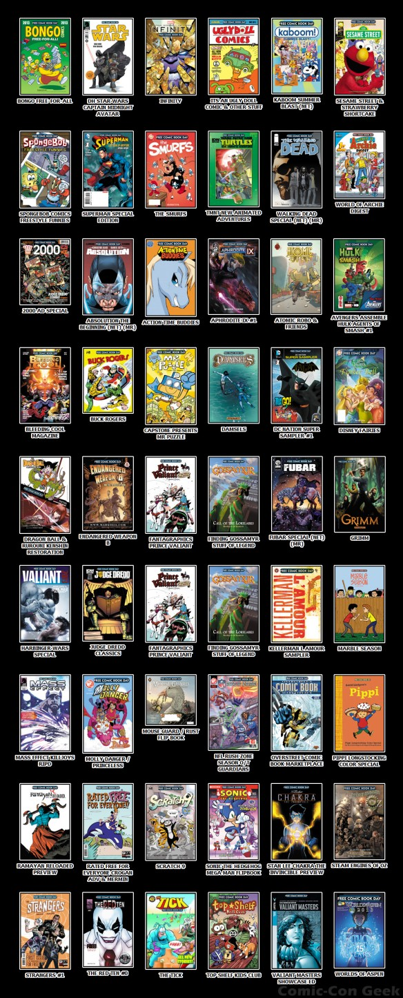 Free Comic Book Day 2013 - FCBD - Comics - Marvel - DC - Dark Horse - Image - Valiant - Boom - IDW - Bongo - NBM - Archie - Avatar - Antarctic - Diamond - Independents