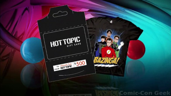 The Big Bang Theory Ultimate Fan Giveaway - Gift Card - DC Comics Superheroes T-Shirt - Hot Topic - Comic-Con 2013 - CBS - SDCC