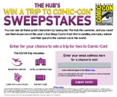The Hub's Win A Trip To Comic-Con Sweepstakes - Entry Page - SM2