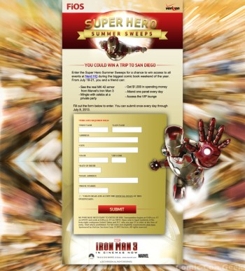 Verizon - Super Hero Summer Sweeps - Nerd HQ - Zachary Levi - Website - Entry Page - Comic-Con 2013 - SDCC