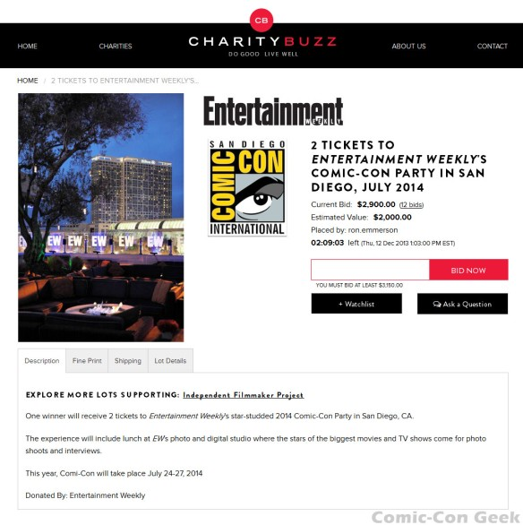 Charity Buzz - Entertainment Weekly - Comic-Con International - SDCC - EW Party - San Diego - Auction